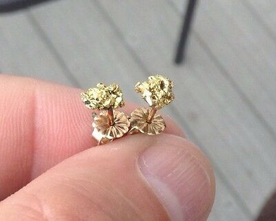 Natural Authentic Gold Nugget Earrings!  .. Lot#24