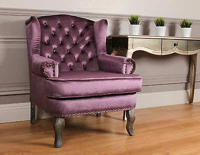 Wing back Fireside Armchair Nursing Queen Ann Velour Crush Purple Violet Velvet