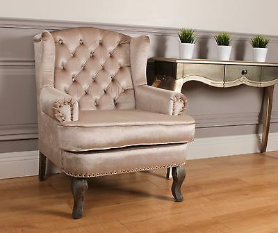 Wingback Fireside Armchair Nursing Queen Ann Velour Crush Gold Champagne Velvet