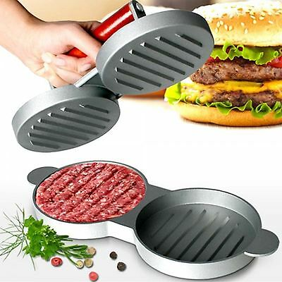 Double Hamburger Press Maker Quarter Pounder Meat Beef Burger Mould BBQ Grill