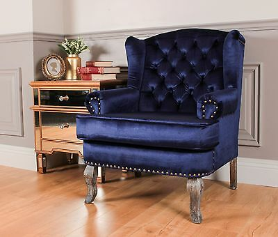 Wingback Fireside Armchair Nursing Queen Ann Velour Crush Royal Blue Velvet