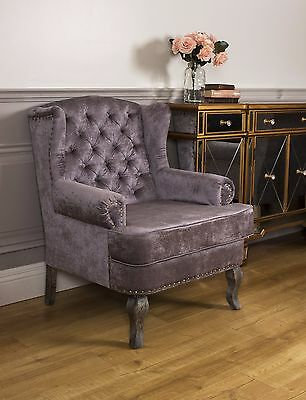 Wingback Fireside Armchair Nursing Queen Ann Velour Crush Grey Velvet