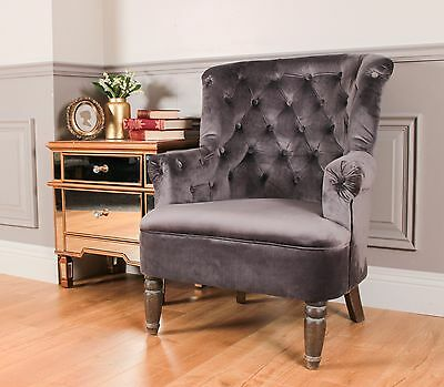 Wingback Fireside Armchair Nursing Queen Ann Velvet Velour Crush Grey