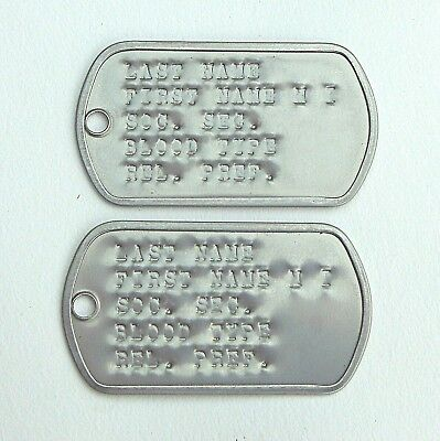 Two Personalized U.S.G.I. Dog Tags, Stainless Steel, G.I. No Chains, WWII VN KO