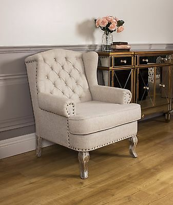 Wingback Fireside Armchair Nursing Queen Ann Linen Cream Brass Studs