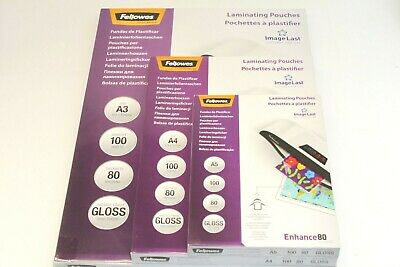 A4 Or A3 Fellowes '160 Or 250 Micron' Clear Gloss Laminating Pouches & Sleeves.
