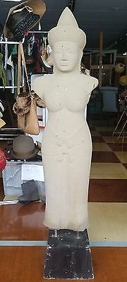 "Large Khymer Cambodian Temple Statue Carved Sandstone 50"" Tall"