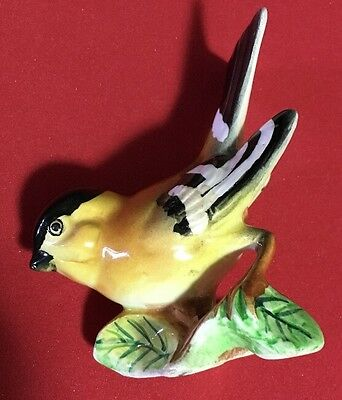 Vintage Ceramic Gold Finch Bird Figurine Ucagco Label Japan