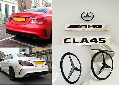 2014+ New Black Rear Boot Letter Emblem For Mercedes Benz W117 C117 Cla45 Amg