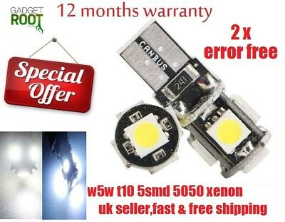 UPTO X10  CANBUS 5 SMD LED 5050 T10 W5W WEDGE CAPLESS SIDE LIGHT BULB white/blue