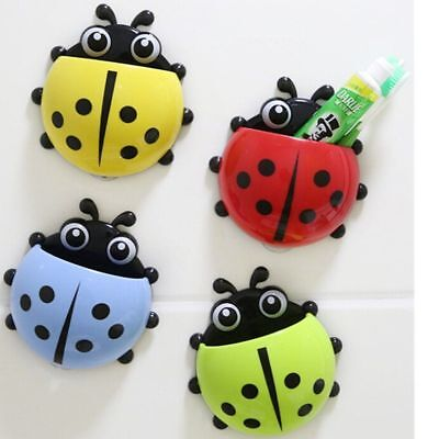 Cute Ladybug Toothbrush Holder Wall Suction Cup Toothpaste Container Organizer