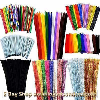 Pipe Cleaners 30cm 15cm 6mm 4mm colours tinsel gold silver 50 100 200 250