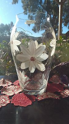 HAND PAINTED CZECH CRYSTAL VASE By MARY T DESIGNS