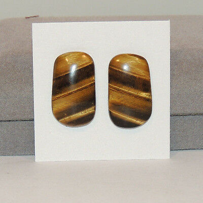 Tiger's Eye Cabochons 22.5x13.5 with 4mm dome Set of 2 From Africa (12731)