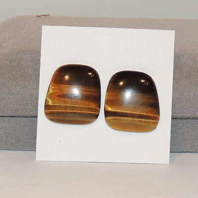 Tiger's Eye Cabochons 18.5x17 with 4.5mm dome Set of 2 From Africa (12736)