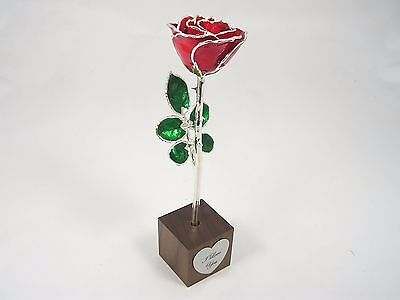 """8"""" Silver Trimmed Red Rose In """"I Love You"""" Stand (Free Anniversary Gift Box)"""