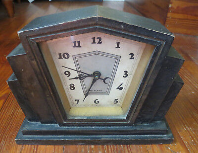 VINTAGE ART DECO ELECTRIC WOODEN CLOCk - AS IS - Not Running