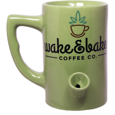 Wake And Bake Cannabis Coffee Co Mug | Green | Funny NEW Nemesis Now Collection