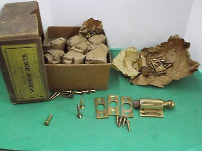 1 Vintage NOS Bronze Metal Window Bolts W/Springs Original Box & Wrapping