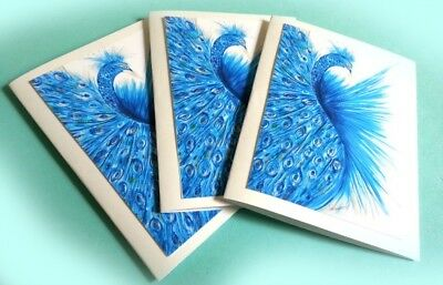 Blue Peacock Bird Note Cards Set by Artsit