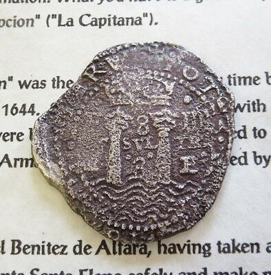 1652 Potosi Silver Transitional Salvaged 8 Reales Cob La Capitana Wreck