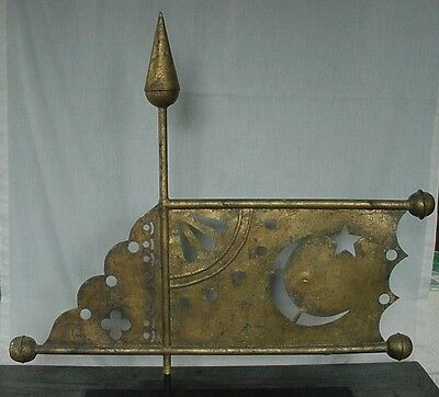 Rare Antique Banner Weathervane Gold Gilded Cutouts, Witch's Cap, Ball