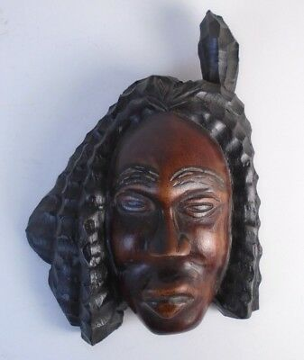 Ethnic Tribal African Carved Wood Art Man Woman Head Wall Plaque Hanging