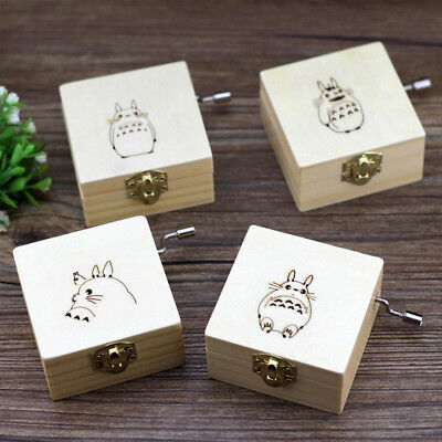 Wooden Music Box Totoro Hand Handicraft Brithday Wishing Dragon Cat Exquisite