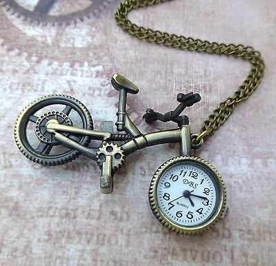 Antique Bronze Pocket Watch Vintage Style Pendant Necklace watch Bicycle