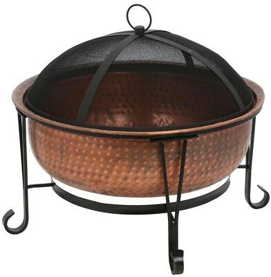 CobraCo Fire Pit Vintage Solid Copper 26 in.W  23 in.H Spark Guard Cover Outdoor