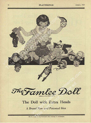 1925 Famlee Doll The Doll with Extra Heads Vintage Toy Ad