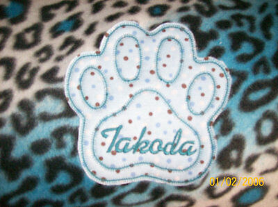 PET DOG CAT FLEECE BLANKET PERSONALIZED Handcrafted 6 foot x- large blue leopard