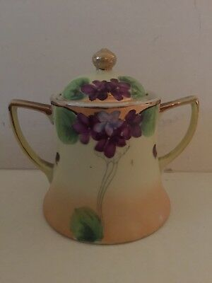 Antique Japanese Hand Painted Porcelain Tea or coffee Sugar Bowl