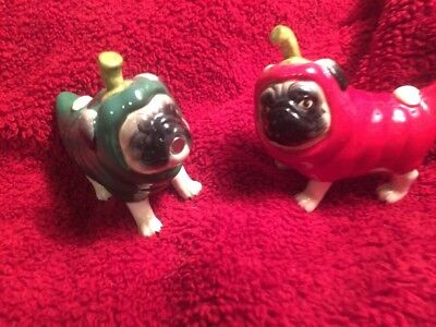 Pugnacious Red & Green Chili Pepper Pug Dogs Salt & Pepper Shakers Magnetic