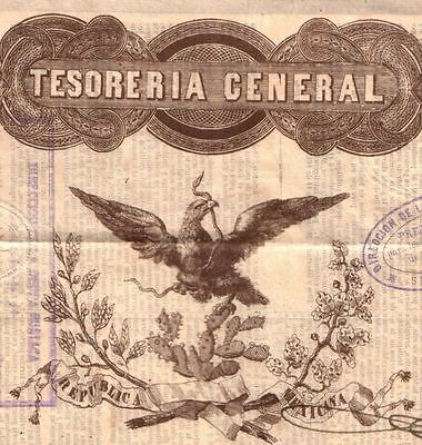 XXX-RARE 1843 MEXICO BLACK EAGLE 20,000 PESO BOND! 1 of 2 REC!! PASSCo & PERITO!
