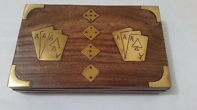Wooden Card Box with 2 Decks Playing Cards & 5 Dice Brass Inlay Poker Men's Gift