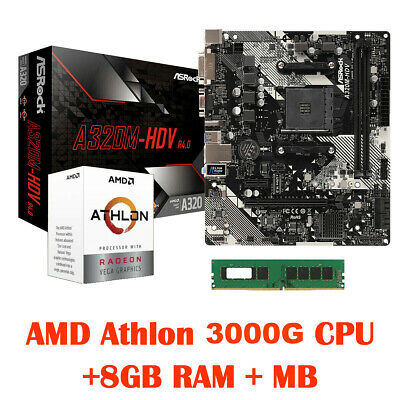 AMD Athlon 3000G CPU Integrated Radeon Vega3 Graphics MB 8GB RAM HDMI DVI VGA