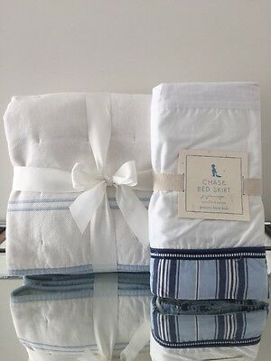 Pottery Barn Kids Crib Quilts White With Light Blue Piping  And Chase Bedskirt
