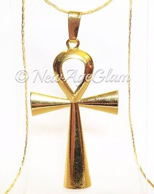 *ANKH*_LARGE Pendant on Yellow Gold Plated Chain Necklace_Egyptian_N179