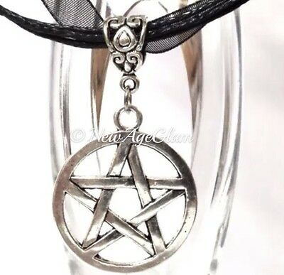 PENTAGRAM BLACK_Large Pendant+ Ribbon Necklace_Wiccan Pagan Pentacle Silver_N53