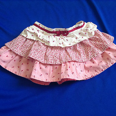 Gymboree Layered Skirt Pink with Flowers Size 0-3 Months