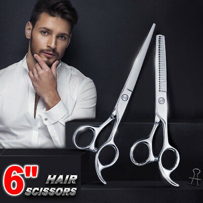 6'' Barber Shears Hair Cutting Thinning Scissors Set Professional Salon OZ