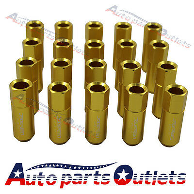 60Mm Gold  Aluminum Extended Tuner Lug Nuts 20Pc Jdmspeed  For Wheel  M12X1.5