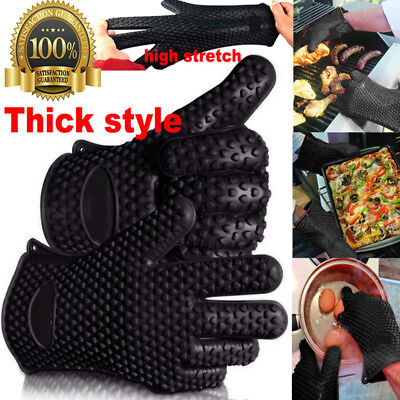 1pcs Kitchen Oven Glove Heat Resistant Silicone Pot Holder Baking BBQ Cook Mitts