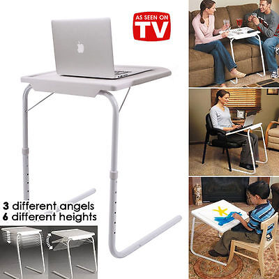 Foldable Table Laptop Adjustable Tray Bed Portable Desk Mate TV Dinner Office