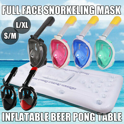 Full Face Snorkel Mask Diving Snorkelling For GoPro + Pool Pong Table Swimming