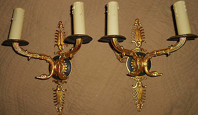 Pair French Empire Gilt Bronze Sconces with swan heads