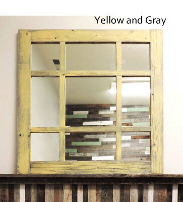 New Rustic Farmhouse Barn Wood Window Mixed 9 Pane Vintage Style Mirror Decor
