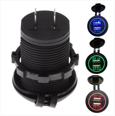 New 12-24V Dual USB Port LED Cigarette Power Lighter Socket Adaptor Car Charger
