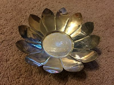 Silver Plated Lotus Flower Bowl Ashtray Made In Italy